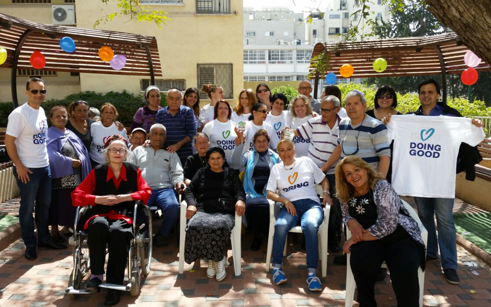Spending time with residents at an elderly home. Tel Aviv, Israel.
